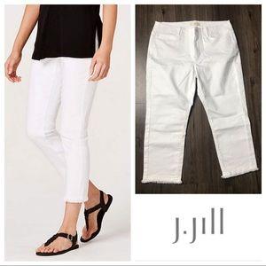 J Jill Authentic Fit Cropped Jeans w/ Fringed Hem